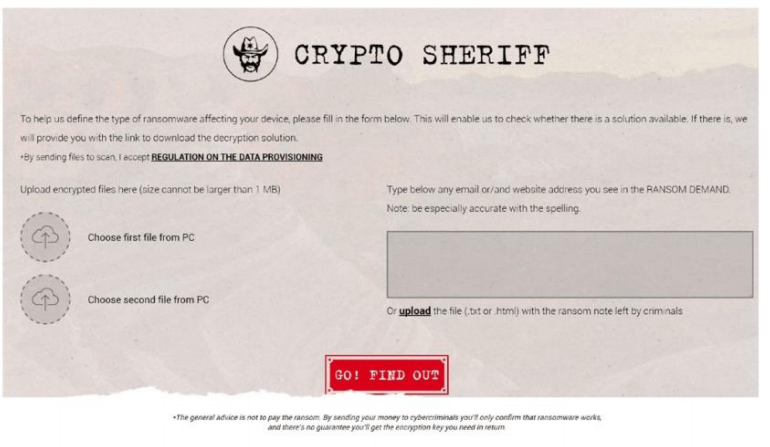 The front page of NoMoreRansom. org's CryptoSheriff site includes an easy tool to discover what kind of ransomware may be affecting your PC.