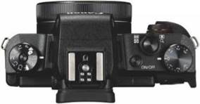 Canon has included plenty of controls on the small, slimline camera body, including top-plate dials and a ring aound the lens