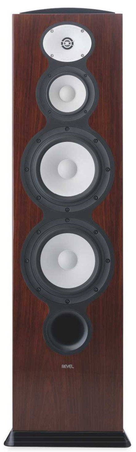 RIGHT: Two 8in 'Deep Ceramic Composite' bass units work out of a large reflex port, handing over to a 5.25in DCC midrange and 1 in beryllium dome tweeter with 'acoustic lens'. Four glossy cabinet finishes are offered