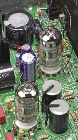 The two 12AX7 (6922) double- triode amplifier / line driver valves - big polyprop, and elec-trolytic capacitors close by.