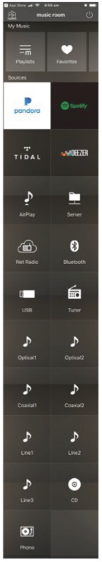 LEFT: a full scroll of the MusicCast app, showing the R-N803 D's input options.