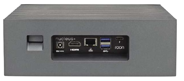 The power switch at left lies in a recess with led downlight to indicate on status; Nucleus+ is designed to be left on. Power consumption is rated as 65W maximum. Flash storage must be inserted at rear; there is no front panel alternative.